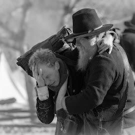 CASUALTY OF WAR by Dana Johnson - Black & White Portraits & People ( reenactment, young boy, old man, black and white, civil war, casualty, people )
