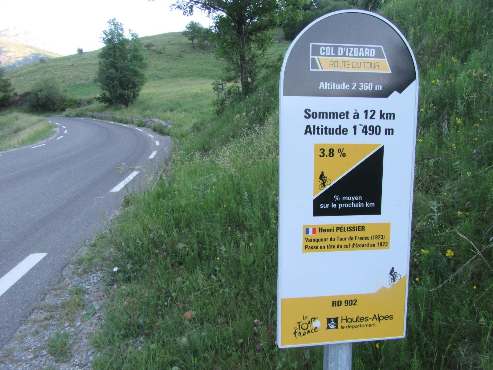 Bike climb Col d'Izoard Guillestre Tour de France kilometer signs on roadway