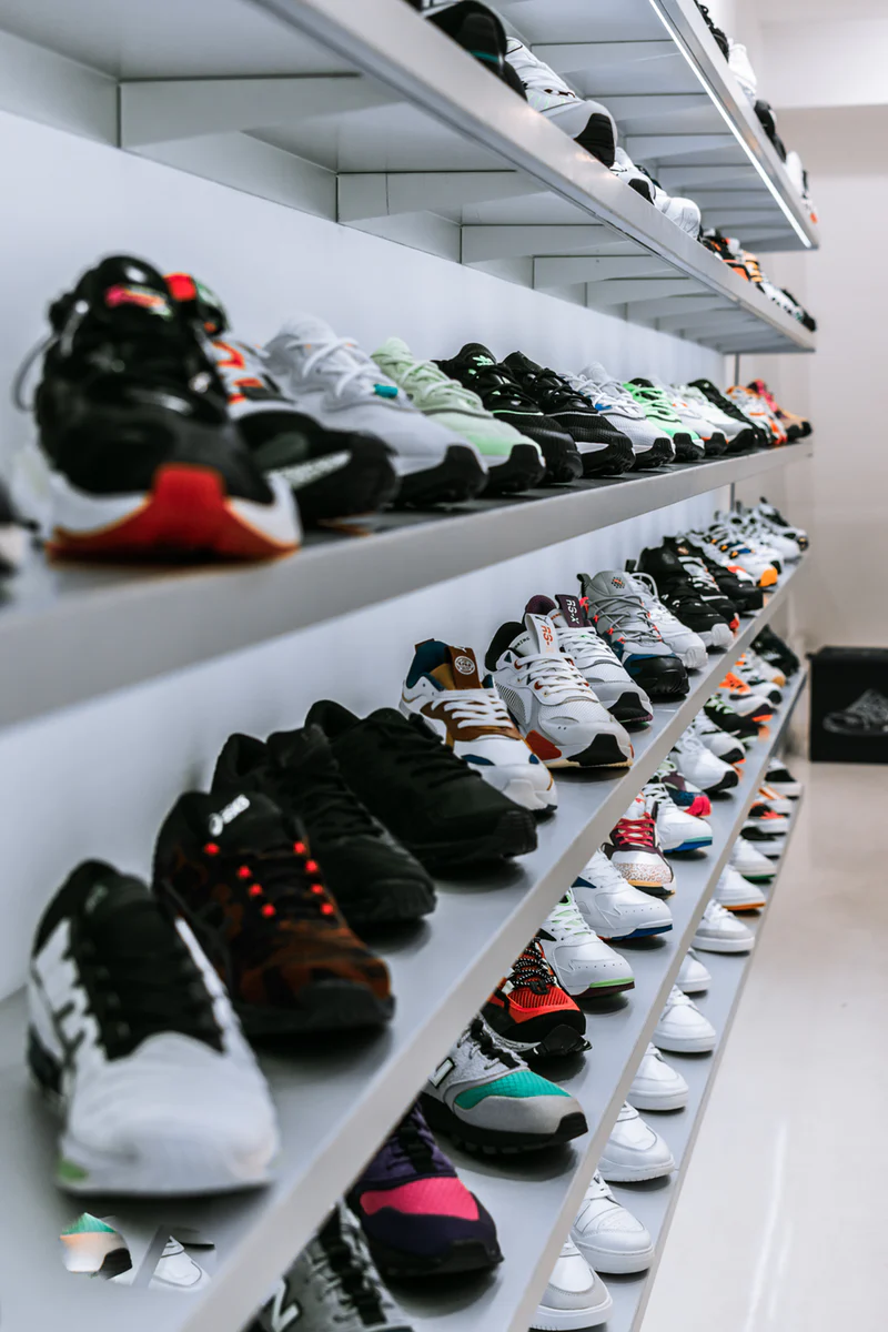 Lots of shoes on shelves