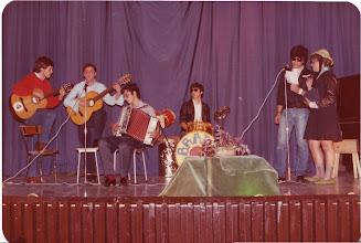 """Photo: Nos la envía Juan Carlos García Pascual. En el teatro, en 1980-81, estamos tocando varios de mi curso (3º de BUP), de izquierda a dcha: Antonio (""""Campomanes""""), Pelayo, yo (Juan Carlos """"Pascual""""), Gervasio, De Dios y Llamedo (""""el Meu"""")."""