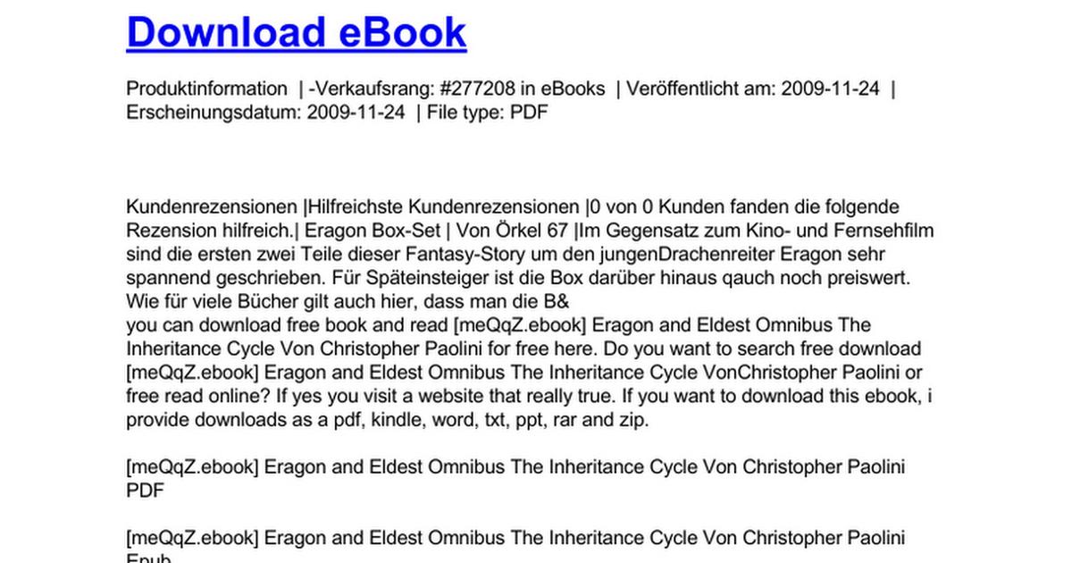 Eragon And Eldest Omnibus The Inheritance Cycle Doc Google Drive