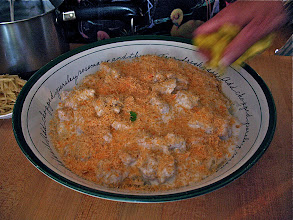Photo: ground dried shrimp sprinkled over noodles