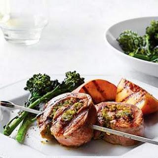 Pesto-Pork Pinwheels with Grilled Peaches