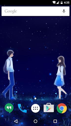蓝色浪漫情侣之爱心动态壁纸