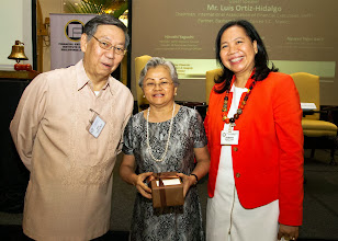 Photo: 22 August 2013 - General Monthly Meeting of FINEX. Conchita Manabat receives a token of appreciation from FINEX-Philippines presented by Victor Lim and Judith Lopez