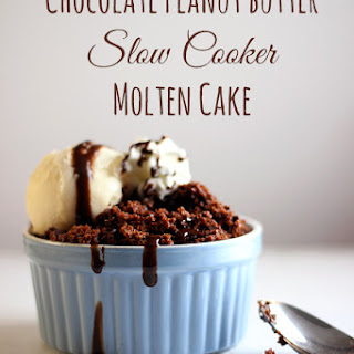 Chocolate Peanut Butter Slow Cooker Molten Cake.