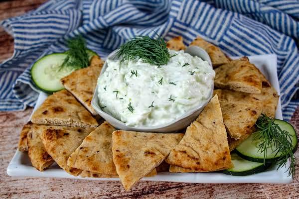 Greek Yogurt Dip Tzatziki With Pita Chips.
