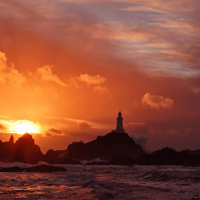 Corbiere LightHouse, Jersey, CI by Ian Groves - Landscapes Sunsets & Sunrises