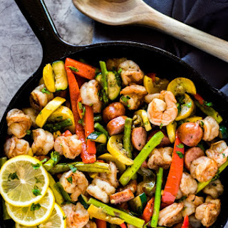 Cajun Shrimp + Sausage Vegetable Skillet Recipe