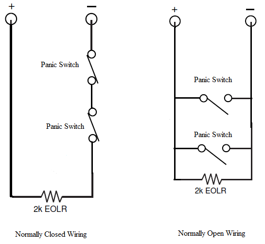 how do i wire multiple panic switches to vista 128bpts alarm grid as you can see in the normally closed configuration the 2k end of line resistor connects to one side of the last panic switch in the circuit