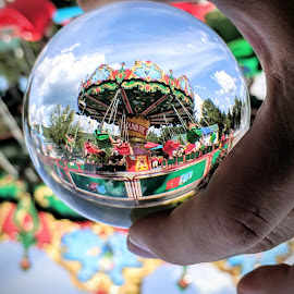 Lens ball swing by Jeff McVoy - Artistic Objects Other Objects ( lens ball, ball, swing, shpere, crystal, vacation, amusement park, lens, ride, park, fun, summer )