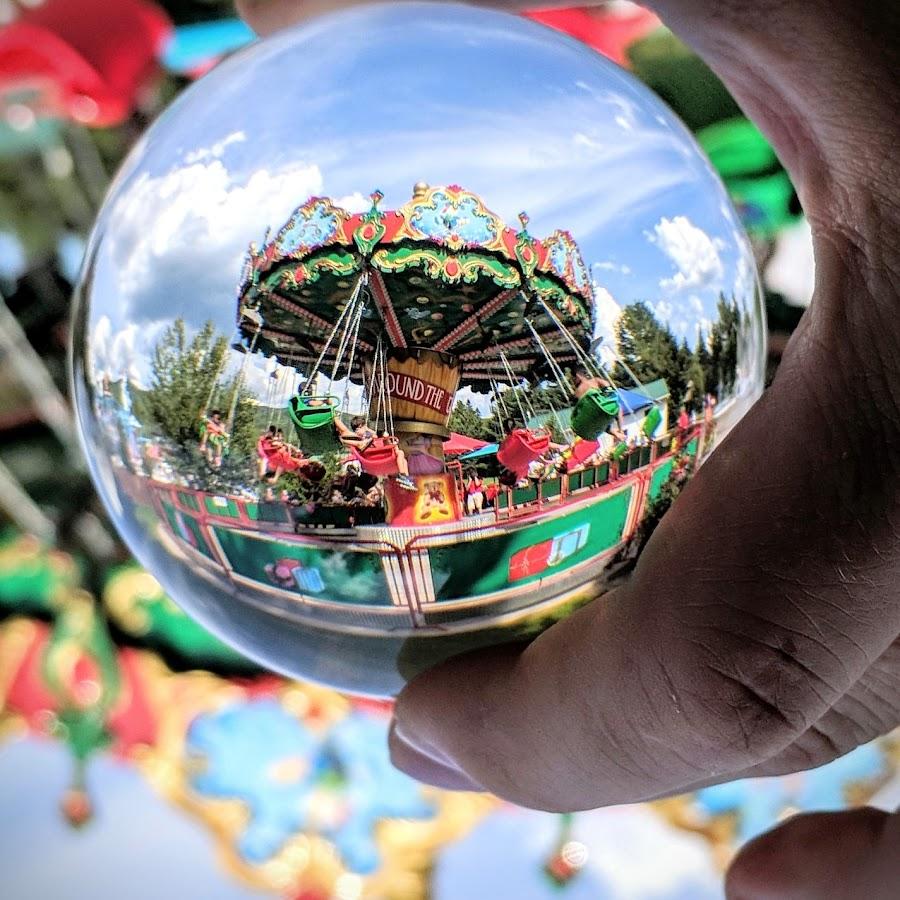 Lens ball swing by Jeff McVoy - Artistic Objects Other Objects ( lens ball, ball, swing, shpere, crystal, vacation, amusement park, lens, ride, park, fun, summer )