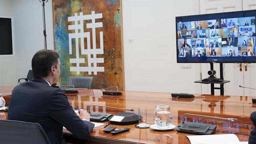 Sánchez, durante su reunión con los presidentes autonómicos.