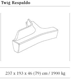 De technische tekening voor de Twig zitbank met rugleuning uit de collectie van Escofet 1886