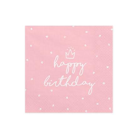 Servetter - Happy birthday ljusrosa
