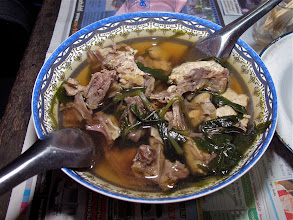 Photo: then it's time to eat the free-range chicken soup with Hmong herbs