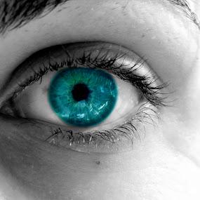 blue eye by Sorin Rizu - People Body Parts ( blue, white, black, eye )