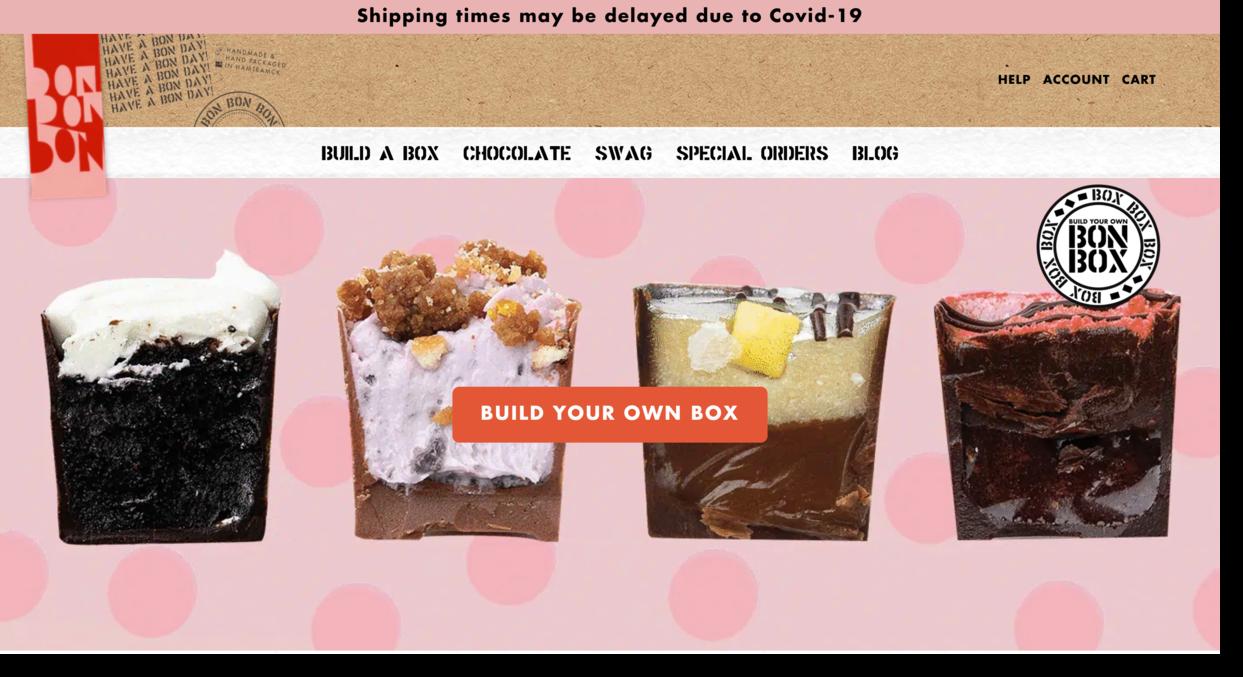 Bon Bon Bon artisan chocolate brand website screenshot Ecommerce Website Designs