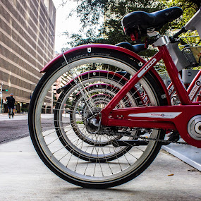 Cycling Story by Anatoliy Kosterev - City,  Street & Park  Street Scenes ( bicycles, red, street, city, geometry )