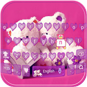 Pink Teddy Keyboard Theme