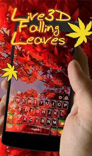 Live 3D Red Falling Leaves Keyboard Theme - náhled
