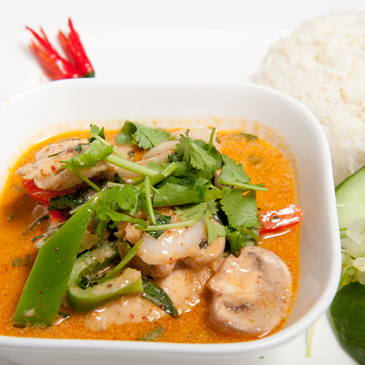 Thai Curry with Chicken on Steamed rice
