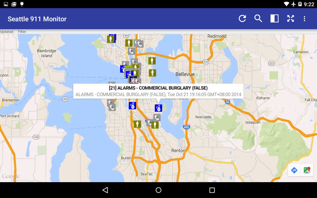 Seattle 911 Incidents Monitor- screenshot