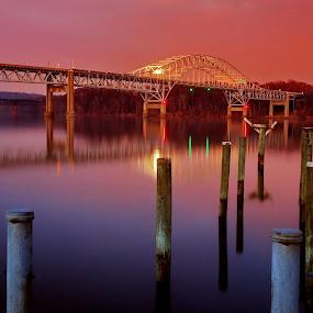 Rt 40 Bridge at Sunset by Mike Lennett - Buildings & Architecture Bridges & Suspended Structures ( havre de grace, color, sunset, maryland, night, long exposure, susquahanna, bridge, pylons, river )