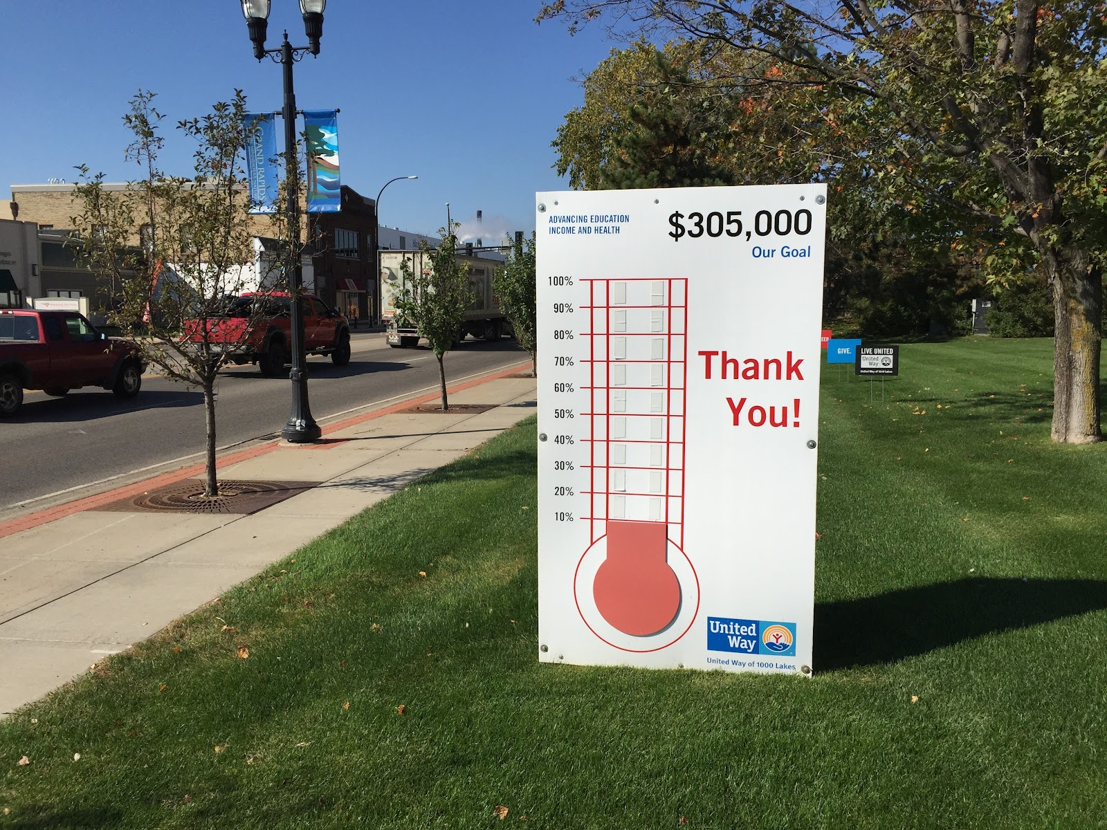 A fundraising thermometer chart