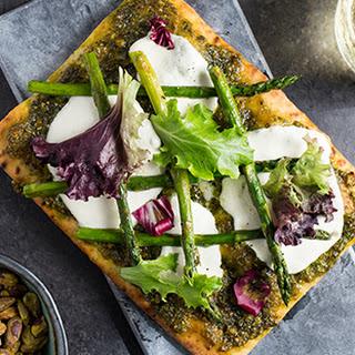 Pistachio Pesto and Asparagus Flatbread Pizza Recipe
