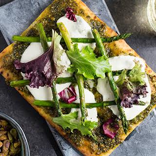 Pistachio Pesto and Asparagus Flatbread Pizza.