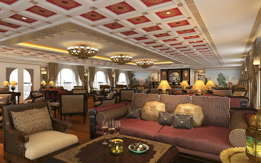 Enjoy afternoon tea in the Governor's Lounge on Uniworld's Ganges Voyager II.
