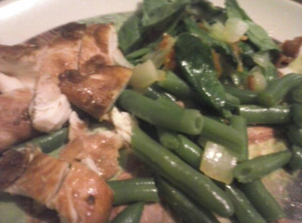 Chicken, Spinach Salad And Green Beans For Two Recipe