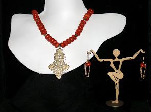 Photo: <BEREHYNYA> {Great Goddess Protectress} unique one-of-a-kind statement jewellery by Luba Bilash ART & ADORNMENT  #106 -TRUST - ДОВІР'Я - brass Eritrean cross pendant; coral; brass beads; 14K gold vermeil $130/set SOLD