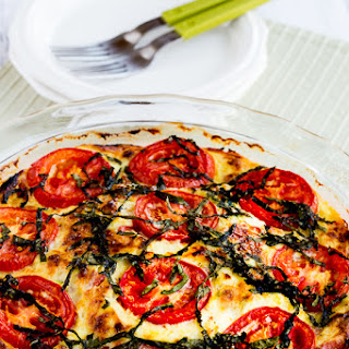 Crustless Three-Cheese Tomato-Basil Quiche.