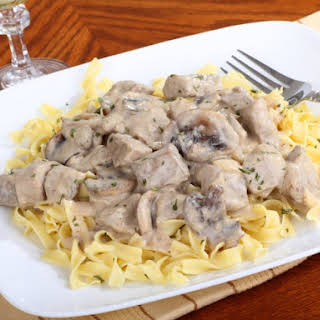 10 Hour Slow Cooker Beef Stroganoff.