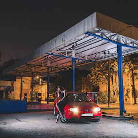 I Stopped To Fill My Car Up by Florian Teodorescu - People Professional People ( car, flash, model, station, romania, neutral, gas, bucharest, red, headlights, blue, woman, dress, d7000, night, nikon )