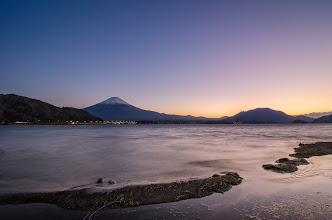 Photo: Mt Fuji from the shores of Lake Kawaguchiko during the dusk hours of an early November evening.