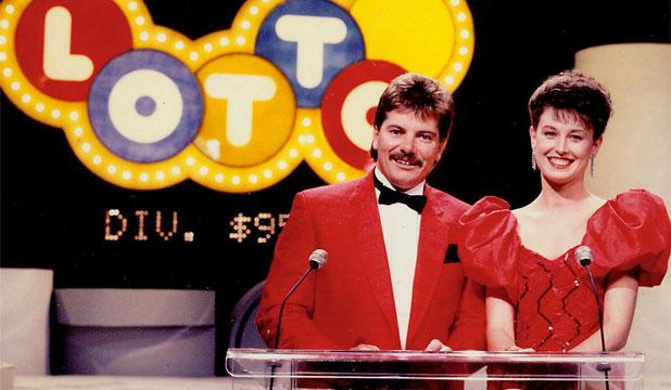 LUCKY: First Lotto presenters Doug Harvey and Ann Wilson, who delivered the good news in 1987 and 1988.