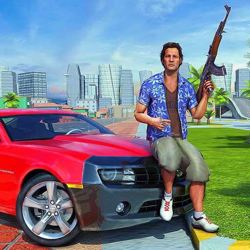 Crime Miami bandido Carro Dirigindo & Tiroteio