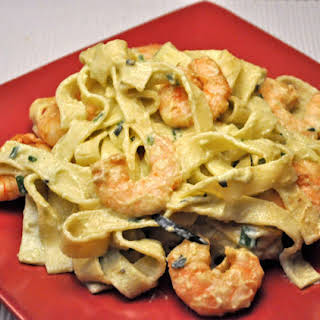 Fettuccini with Shrimp and Avocado Sauce.