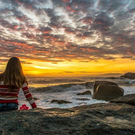 Jaqueline  by Rqserra Henrique - Uncategorized All Uncategorized ( clouds, brazil, girl, rqserra, beach, sunrise, rocks )