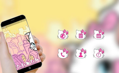 Cute kitty Launcher theme: Pink lovely Cartoon - náhled