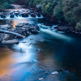 River by ALAN Elphinsrone - Landscapes Waterscapes ( rocks, bush, sunset, water, flowing )
