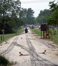Photo: Ken Smith arriving at Caliente, running clockwise against the passenger trains.    HALS 2009-0919