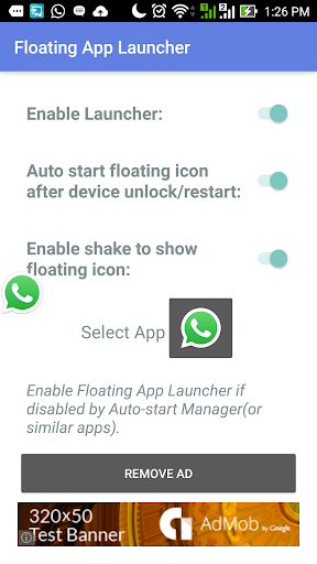 Shake To Float App Launcher