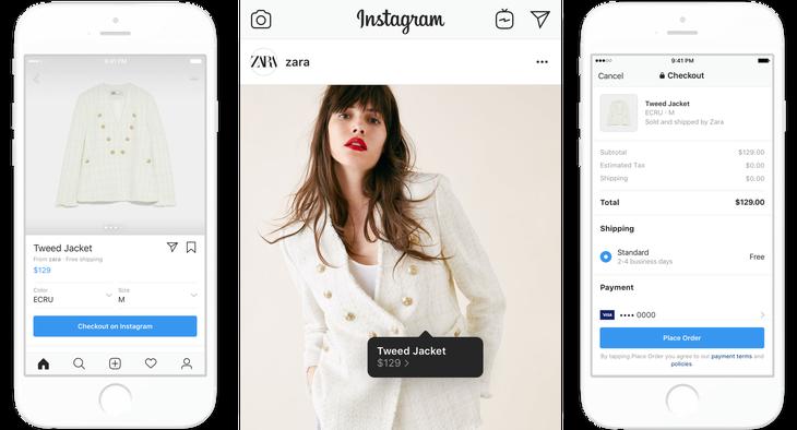 Instagram Shopping de Zara