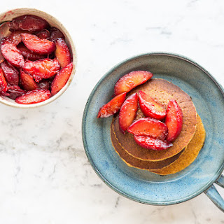 Banana Plantain Pancakes with Pluots