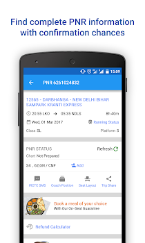 PNR Status and Indian Rail Info, Ticket Bookings