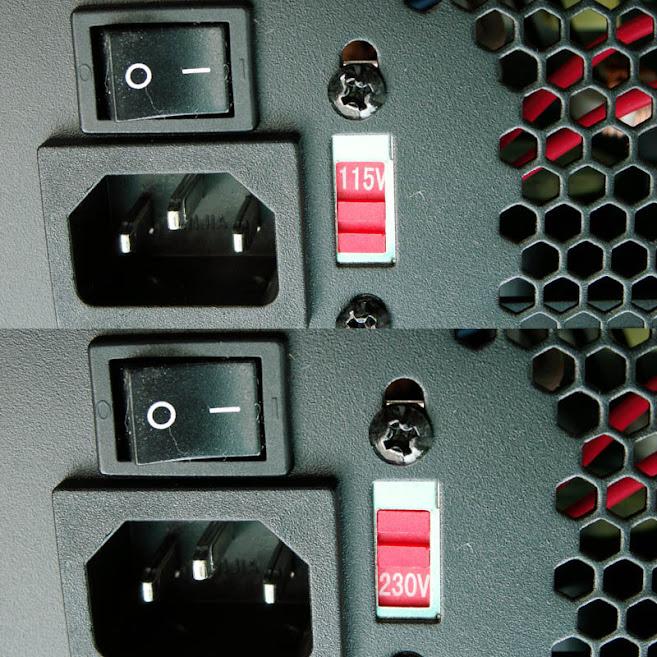 máy tính để bản: gạt thanh trượt để chọn điện áp